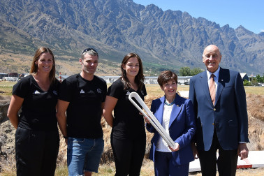 an image of Their Excellencies with athletes Donna Wilkins, Holly Robinson and Matt Randall