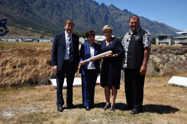 an image of Dame Patsy with Mike Stanley, Kereyn Smith and Hugh Graham
