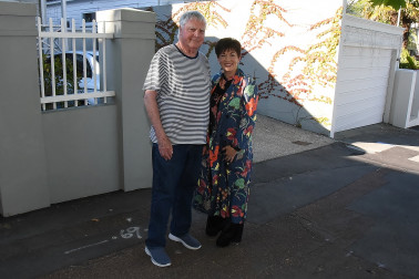 Image of Dame Patsy with Franklin Road resident and friend Hamish Keith