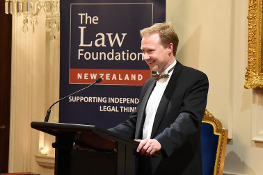 Image of Dr Andrew Butler, Chairman of the New Zealand Law Foundation responding to Andrew Little's address