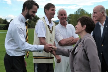 an image of Their Excellencies meeting Grant Elliott, Ewen Chatfield and the Very Rev Mike Hawke