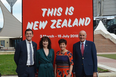 Image of Dame Patsy and Sir David with Wellington Mayor, Justin Lester and City Gallery Director, Elizabeth Caldwell