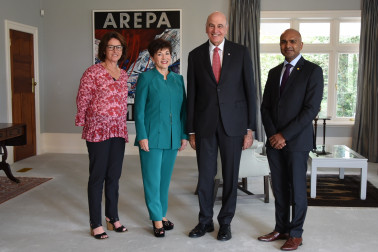 an image of Their Excellencies with Dame Susan Devoy and Rakesh Naidoo