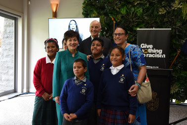 an image of Dame Patsy and Holy Family School visitors
