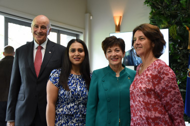 an image of Their Excellencies with Rez Gardi and Dame Susan Devoy