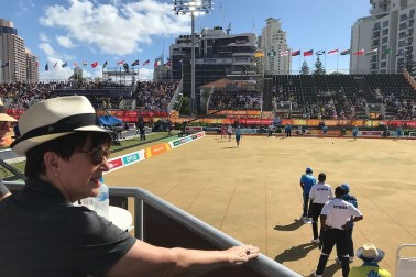 Dame Patsy attends a bowls match at the Gold Coast Commonwealth Games