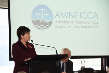 an image of Dame Patsy addressing the conference delegates
