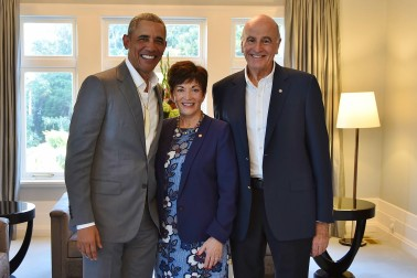 Image of Dame Patsy and Sir David with Barack Obama