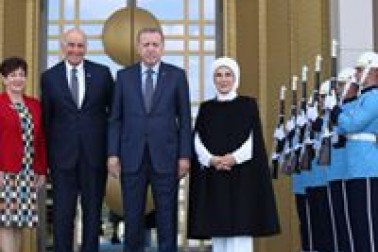 an image of Their Excellencies with HE Mr Recep Erdogan, and HE Mrs Emine Erdogan