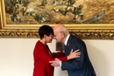 an image of Dame Patsy meeting HE Mr Ismail Kahraman, Speaker of the Turkish Grand National Assembly