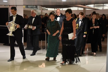 an image of The official party entering the venue with the Ahuwhenua Trophy