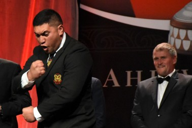 an image of Young Maori Farmer Award winner Harepaora Ngaheu performing a haka