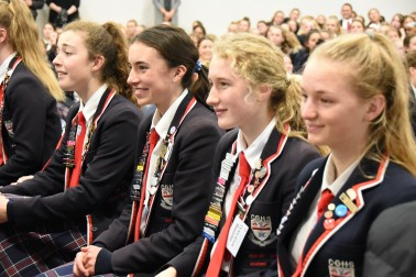 Christchurch Girls High School students listening to Dame Patsy at the official opening