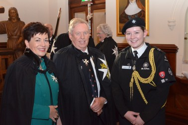 an image of Dame Patsy with Dr Steven Evans and Cascade, Cadet of the Year