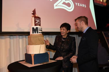an image of Dame Patsy and Vincent Lipanovich with the Museum's birthday cake