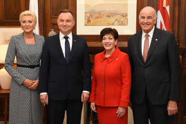 Image of Dame Patsy and Sir David with the President of the Republic of Poland, HE Andrzej Duda and Agata Kornhauser-Duda