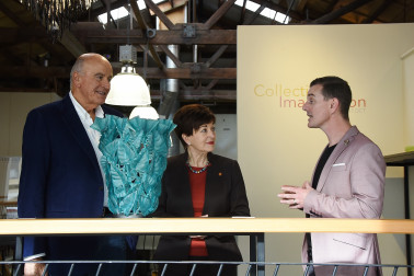 Image of Dame Patsy and Sir David with Scott Redding of Glassworks
