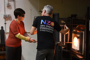 Image of Dame Patsy using a furnace