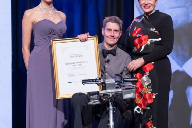 an image of Dame Patsy with Ellie Rose Dixon, and Roland Matthews for inductee Sir Russell Matthews