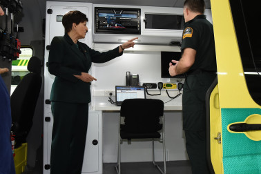an image of Dame Patsy inside a St John command unit
