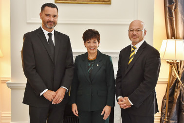Image of Dame Patsy with Chief Justice of Niue, Judge Craig Coxhead and Judge Miharo Armstrong