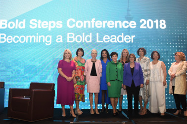 an image of Dame Patsy with Dame Therese Walsh, Alison Gerry, Cathy Quinn, Joan Withers, Silvana Schenone, Jolie Hodson, Frances Valintine, Royal Reed and Dame Paula Rebstock