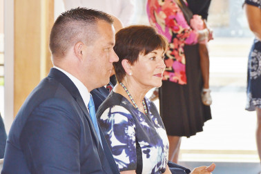 Image of Dame Patsy with Kauri Flats School Board Chair Daniel Newman
