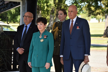 an image of Their Excellencies Arriving at the New Zealand Army National Marae