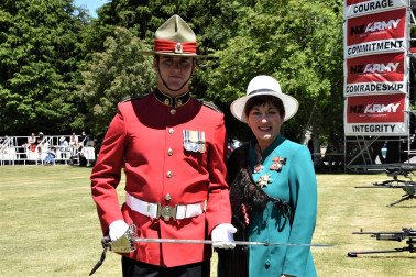 an image of Dame Patsy with Officer Cadet Anthony Hurndell, who received the Sword of Honour for achieving the highest marks