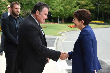 Image of Dame Patsy being greeted by Palmerston North Mayor, Grant Smith