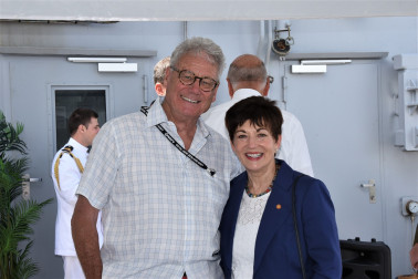 an image of Dame Patsy with yachting commentator Peter Montgomery