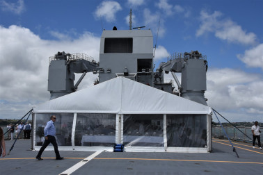 an image of The lunch marquee on the flight deck of HMNZS Canterbury