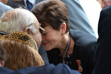 an image of Dame Patsy greeting SIr Hec Busby