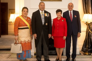 Image of Dame Patsy reddy and Sir David Gascoigne with HM King Tupou VI of the Kingdom of Tonga and HM Queen Nanasipau'u
