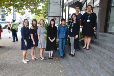 Image of Dame Patsy with staff at the Auckland Bioengineering Institute