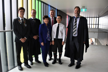 Dame Patsy with representatives of Dilworth staff, trustees and students