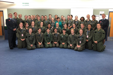 Image of Dame Patsy with the full School to Skies crew