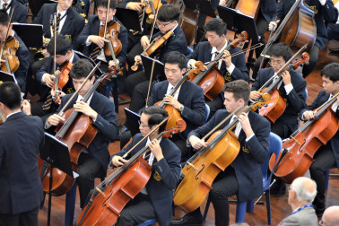 Auckland Grammar's symphony orchestra performing at the Assembly