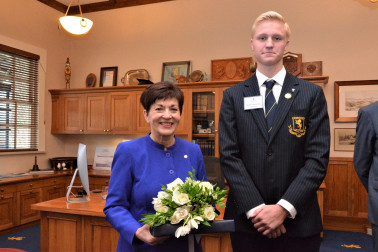 Dame Patsy and Auckland Grammar Head Boy, Miller Hawkesby