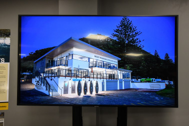 Image of the new Mount Maunganui Surf Lifeguard building from the beach