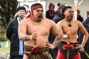 Image of warriors at Turangawaewae Marae