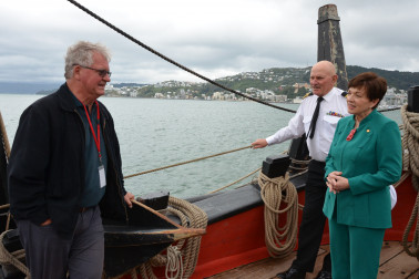 Image of Discussing the finer points of anchors with Captain Frank Allica and Peter Rout of the Australia National Maritime Museum