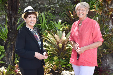 Image of Dame Patsy with Isla McGowan of the Auckland Branch of the Bromeliad Society of NZ