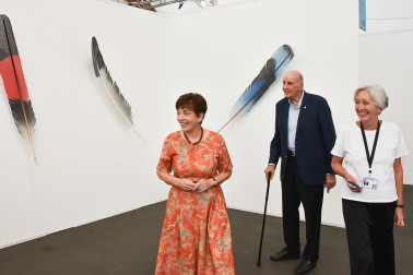Image of Dame Patsy with Neil Dawson works