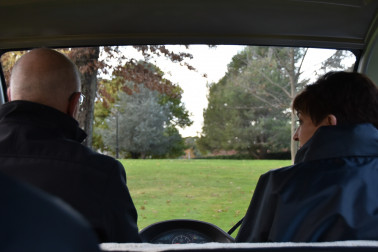 Image of Dame Patsy and General Hurley looking for kangaroos