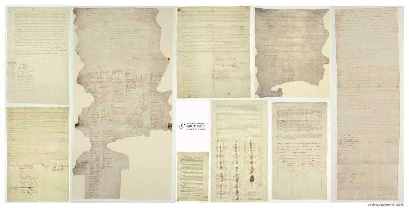 Image of the nine sheets comprising the Treaty of Waitangi