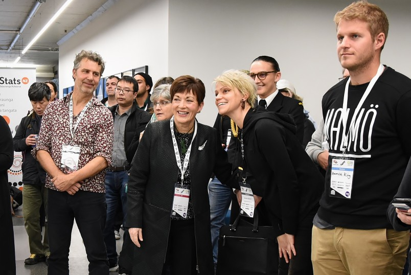 An image of Dame Patsy with participants at GovHack in Wellington
