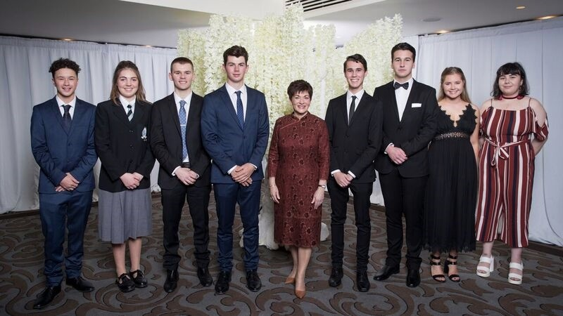 An image of Dame Patsy with Young Enterprise Trust entrepeneurs