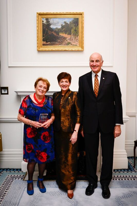 An image of Mrs Inge Woolf, QSO with Dame Patsy and Sir David