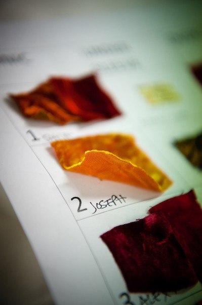 Image of fabric samples used for the RNZB production of Romeo and Juliet